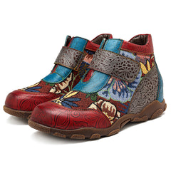SOCOFY Women Retro Splicing Pattern Leather Ankle Boots - Slabiti