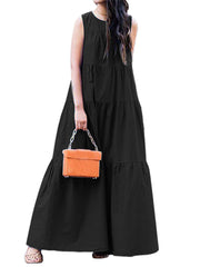 Women Pure Color Sleeveless Pleated Loose Round Neck Dress