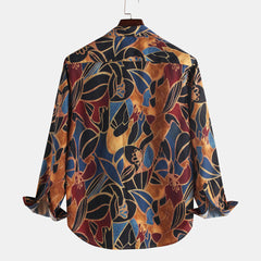 Mens Ethnic Style Colorful Printing Long Sleeve Turndown Collar Loose Casual Shirts - Slabiti