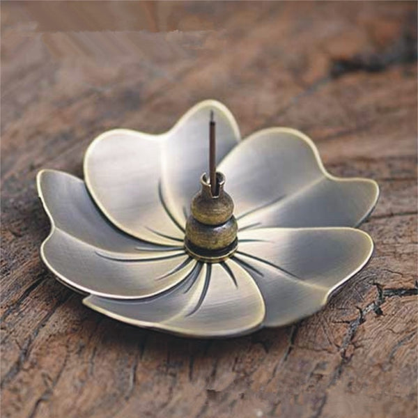 1Pcs Creative Home Decor Lotus Plum Blossom Alloy Censer Incense Coil Burner 2mm Stick Incense Holder Use in Office Teahouse - Slabiti
