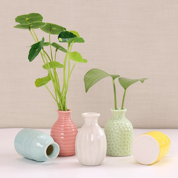 1Piece Randomly Ceramic Flower Vase Home Table Decor Flower Pot Arrangement Garden Desk Ornament Creative Mini Vase 5*5*8cm - Slabiti