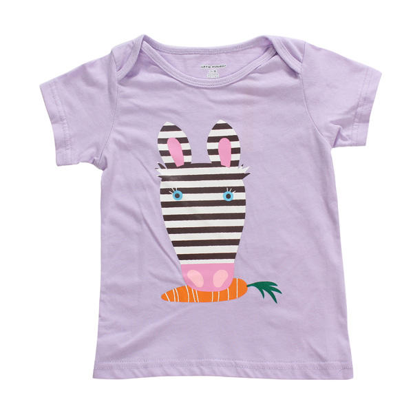2015 New Little Maven Baby Girl Children Rabbit Purple Cotton Short Sleeve T-shirt Top - Slabiti