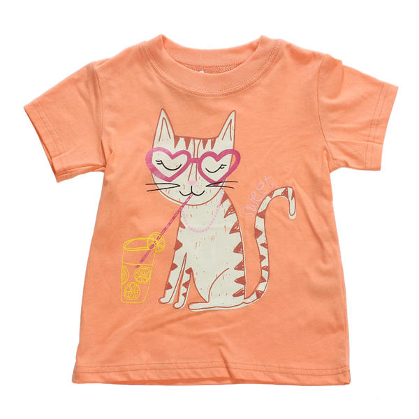 2015 New Little Maven  Baby Girl Children Cat Orange Cotton Short Sleeve T-shirt - Slabiti