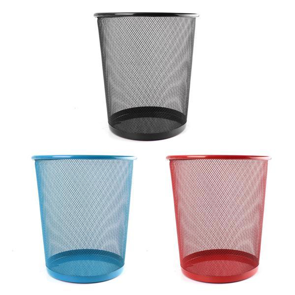 New Colourful Metal Mesh Waste Bin Rubbish Paper Net Basket Home Office Durable - Slabiti