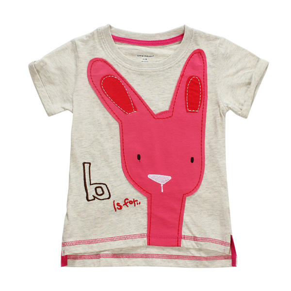 2015 New Little Maven Baby Girl Children Rabbit Light Grey Cotton Short Sleeve T-shirt - Slabiti