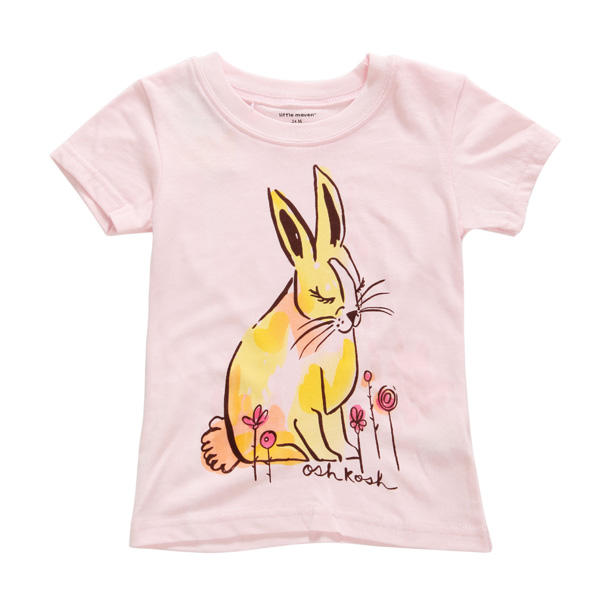 2015 New Little Maven Summer Baby Girl Children Rabbit Pink Cotton Short Sleeve T-shirt - Slabiti