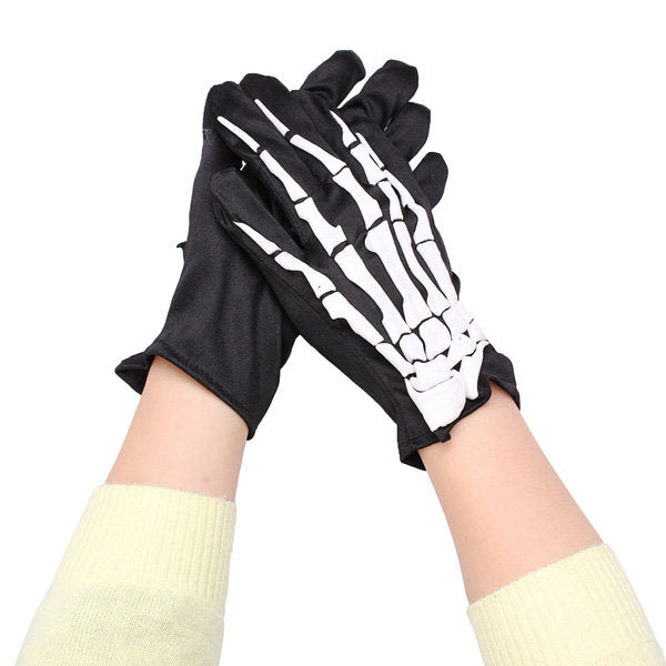 Fashion Halloween Skeleton Ghost Demon Elastic Skull Gloves - Slabiti