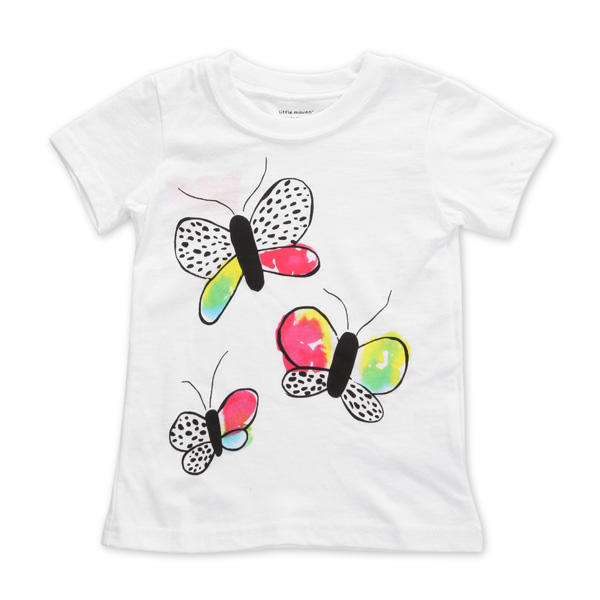 2015 New Little Maven Baby Girl Children Butterfly White Cotton Short Sleeve T-shirt - Slabiti