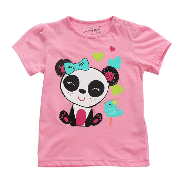 Little Maven Baby Girl Children Panda Red Cotton Short Sleeve T-shirt Top - Slabiti