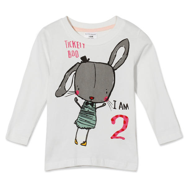 2015 New Little Maven Summer Baby Girl Children Rabbit White Cotton Long Sleeve T-shirt - Slabiti