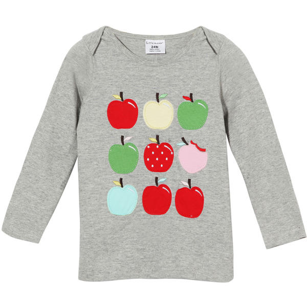 2015 New Little Maven Summer Baby Girl Children Apples Grey Cotton Long Sleeve T-shirt - Slabiti