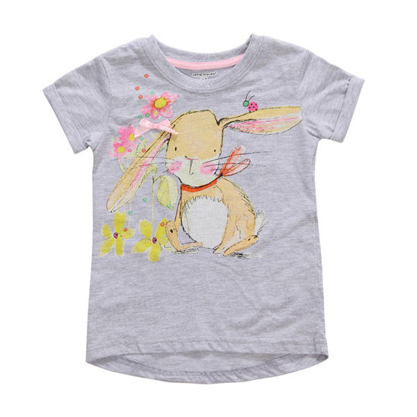 2015 New Little Maven Baby Girl Children Cute Rabbit Grey Cotton Short Sleeve T-shirt Top - Slabiti