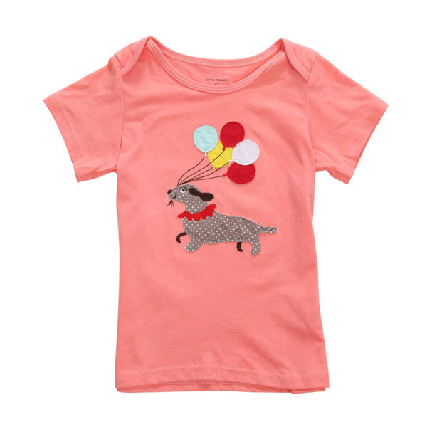 2015 New Little Maven Baby Girl Children Dog Red Cotton Short Sleeve T-shirt Top - Slabiti