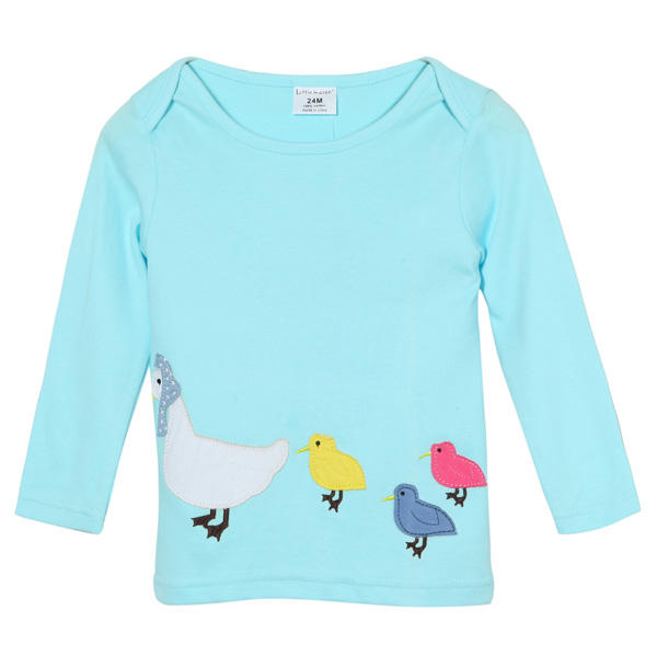 2015 New Little Maven Summer Baby Girl Children Ducks Green Cotton Long Sleeve T-shirt - Slabiti