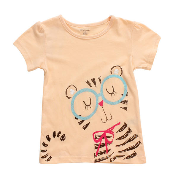 2015 New Little Maven Lovely Cat Baby Children Girl Cotton Short Sleeve T-shirt Top - Slabiti