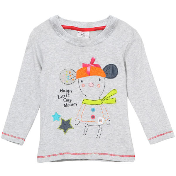 2015 New Little Maven Summer Baby Girl Children Cartoon Grey Cotton Long Sleeve T-shirt - Slabiti