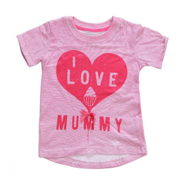 2015 New Little Maven Summer Baby Girl Children Heart Pink Cotton Short Sleeve T-shirt - Slabiti
