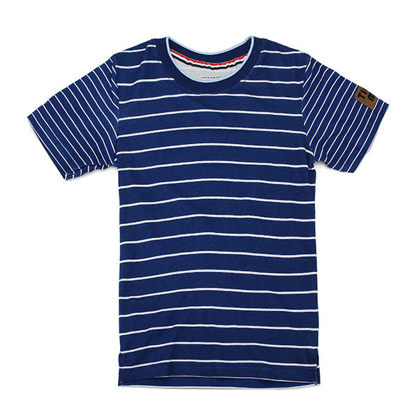 2015 New Little Maven Blue White Stripe Baby Children Boy Cotton Short Sleeve T-shirt - Slabiti