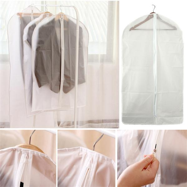 PEVA Foldable Translucent Clear Washable Coat Suits Clothes Garment Protective Cover Storage Bag - Slabiti