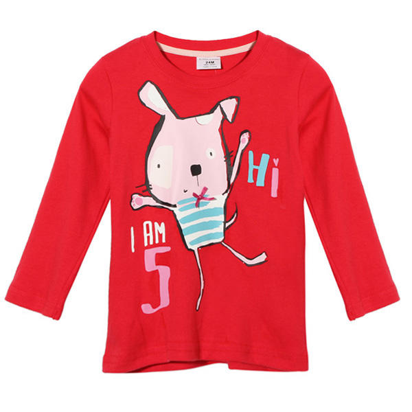 2015 New Little Maven Summer Baby Girl Children Rabbit Red Cotton Long Sleeve T-shirt - Slabiti