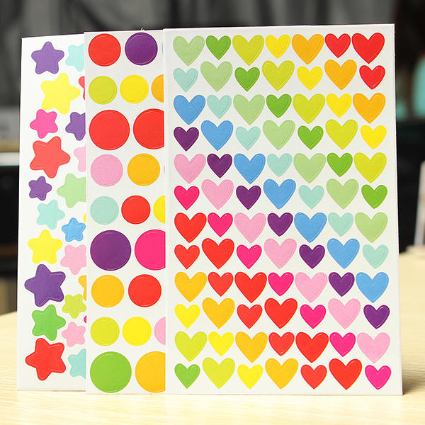 6 Sheet Colorful Rainbow Sticker Diary Planner Journal  Albums Photo - Slabiti