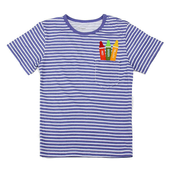2015 New Little Maven Light Blue Stripe Crayon Baby Children Boy Cotton Short Sleeve - Slabiti