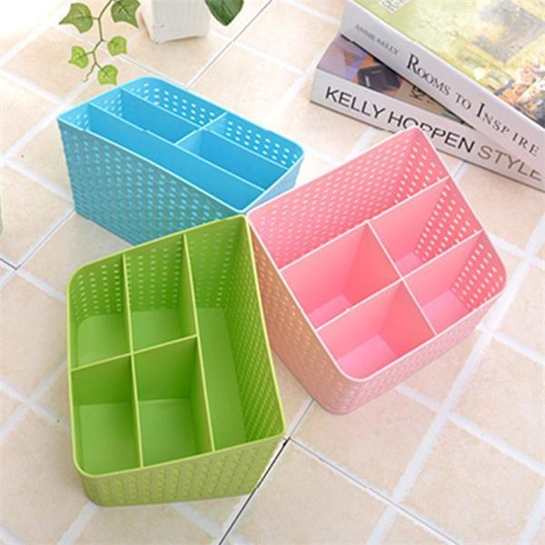 Imitation Rattan Colorful Multifunctional Cosmetics Remote Control Desktop Storage Basket - Slabiti