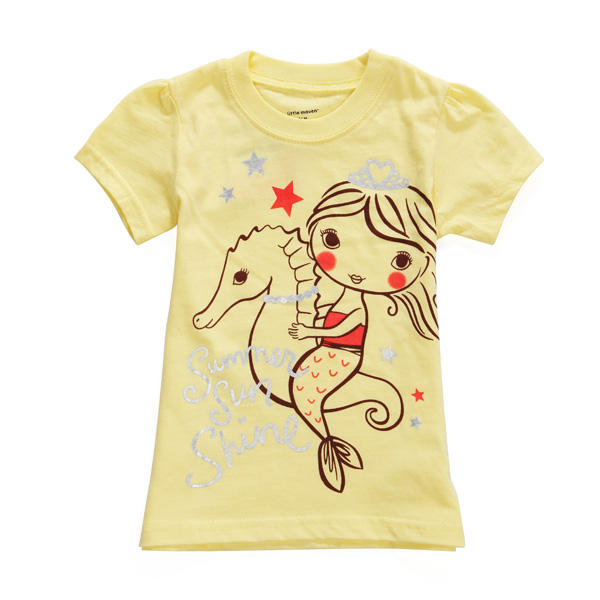 2015 New Little Maven Summer Baby Girl Child Sea Horse Yellow Cotton Short Sleeve T-shirt - Slabiti