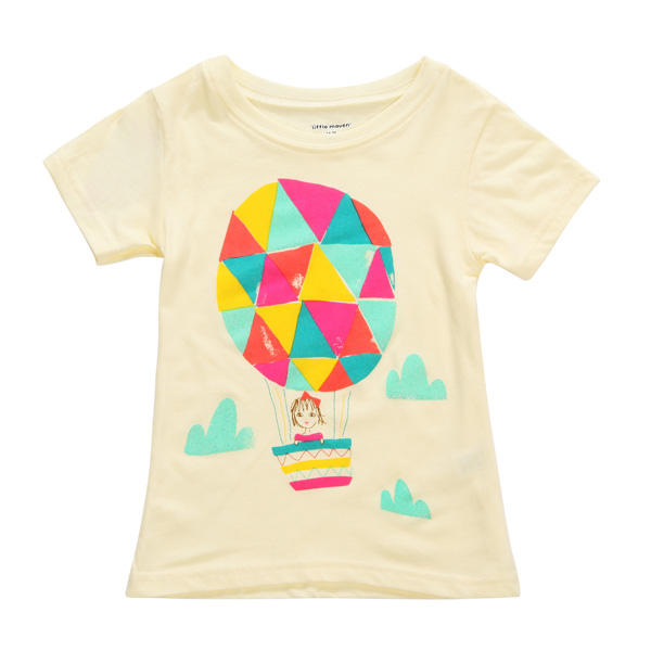 2015 New Little Maven Baby Girl Children Air Balloon Yellow Cotton Short Sleeve T-shirt - Slabiti