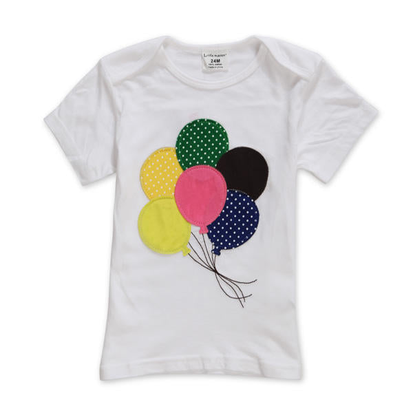 2015 New Little Maven Summer Baby Girl Children Balloon White Cotton Short Sleeve T-shirt - Slabiti