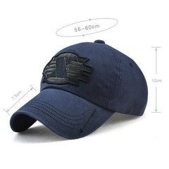 Men Embroidered Cotton Baseball Cap Outdoor Sunshade Sport Snapback Visor Hat - Slabiti