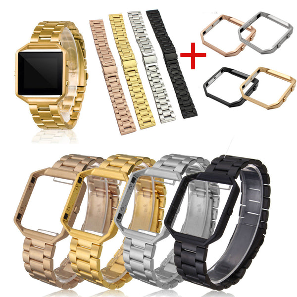 Stainless Steel Bracelet Wrist Band+Metal Frame For Fitbit Blaze Activity Tracker - Slabiti