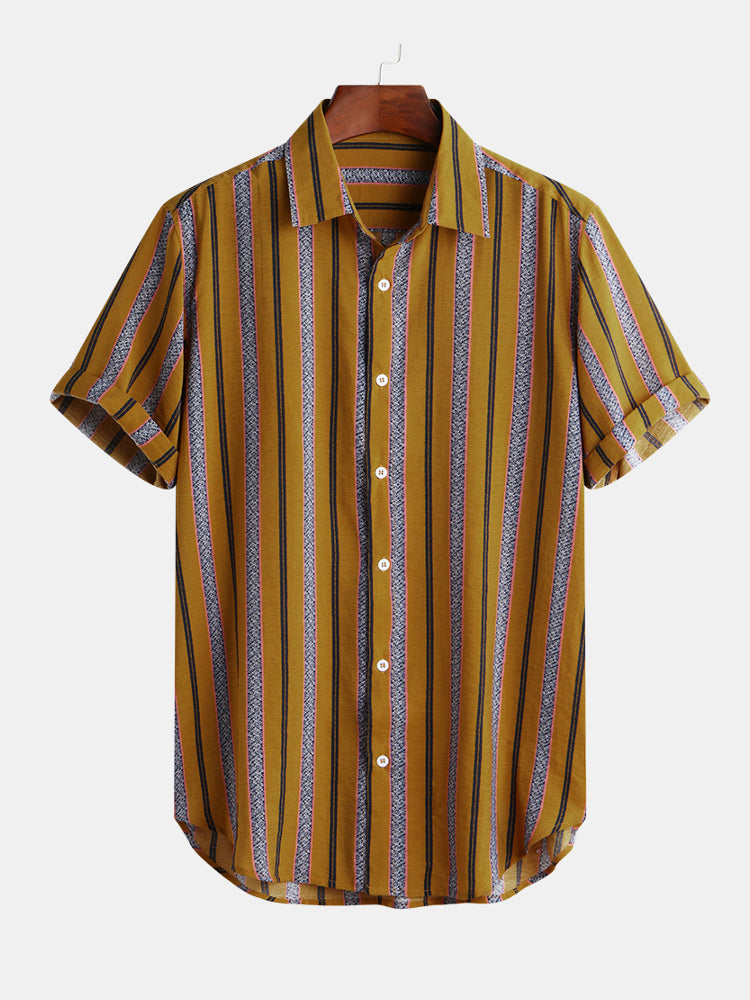 Mens Classic Striped Summer Short Sleeve Button up Shirts - Slabiti
