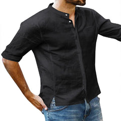 Mens Cotton 3/4 Sleeve Missing Buttons Band Collar Shirts - Slabiti