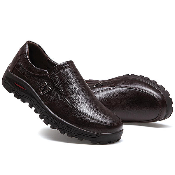 Men Casual Soft Comfortable Leather Oxfords Business Shoes - Slabiti