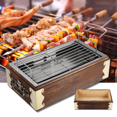 Portable Stainless Steel Wood BBQ Grill Barbecue Cooking Household BBQ Stove - Slabiti