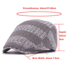Unisex Knitted Stripe Beret Hat Knitting Buckle Adjustable Paper Boy Newsboy Cabbie Gentleman Cap - Slabiti