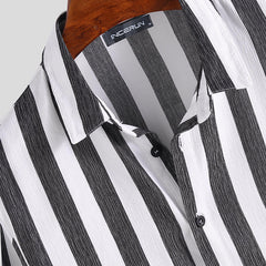 Mens Casual Business Long Sleeve Classic Striped Shirts - Slabiti
