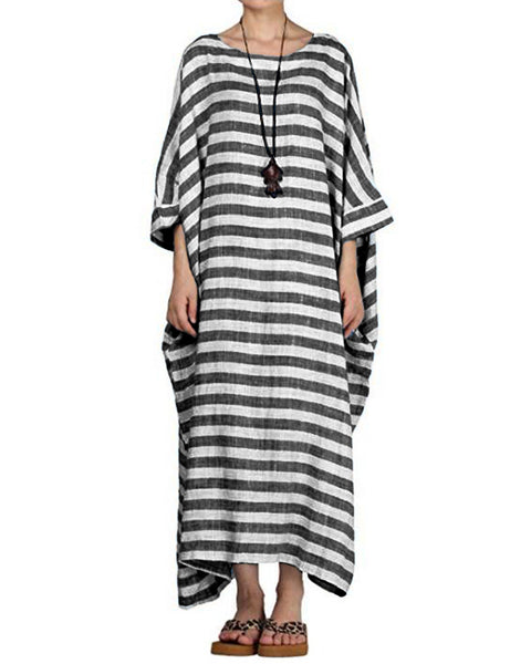 3/4 Sleeve Round Neck Striped Loose Long Maxi Dress