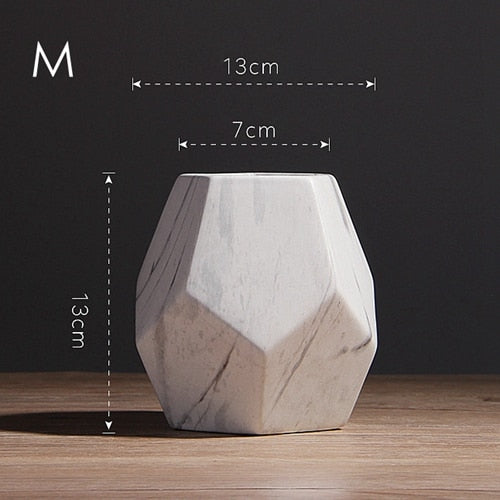 1pc Modern White Marbled Vase Geometric Shaped White Ceramic Flower Vase Desk Tabletop Holder Home Office Decoration
