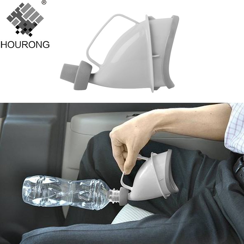 1pc Portable Travel Urinal Car Handle Urine Bottle Urinal Funnel Tube Outdoor Camp Urination Device Stand Up & Pee Toilet - Slabiti