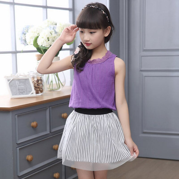 2 Piece Girls Skirt Suits 2019 Summer New Kids Clothes Set Purple Sleeveless Tops Tees + Striped Tulle Skirt Suit for Teenage - Slabiti