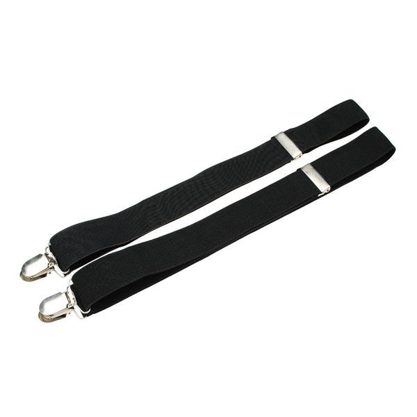 Mens Womens Fashion 4 Clips Black No Cross Strap Suspenders - Slabiti