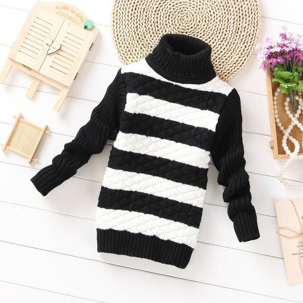 2017 New girl boys sweater brand kids Striped Knit Pullover children's winter cardigans sweater - Slabiti