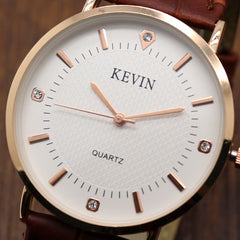 Relogio Masculino KEVIN Fashion Elegant Brown Leather Band Quartz Wristwatches Men Watches Men's Male Clock Gift W090203 - Slabiti