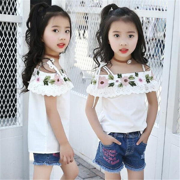 2018 Baby T Shirts Girl Solid T-Shirt  Kids Tops Flowers Children Clothing Girls Tees Summer Toddler Outwear Clothes 6-15T - Slabiti