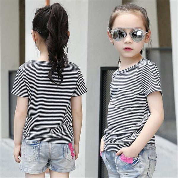 2018 Cotton Baby Girl Summer Shirts New Toddler Comfortable Tops Tee Children Clothing Kids Striped O-Neck 6-15T Teenage Outwear - Slabiti