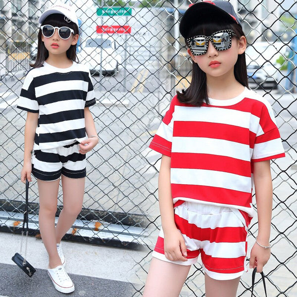 2018 Girls' Wide Stripes Suit Children's Summer Casual Short Sleeved T Shirt+ Shorts Pant Black and Red Color 3-13 Ages - Slabiti