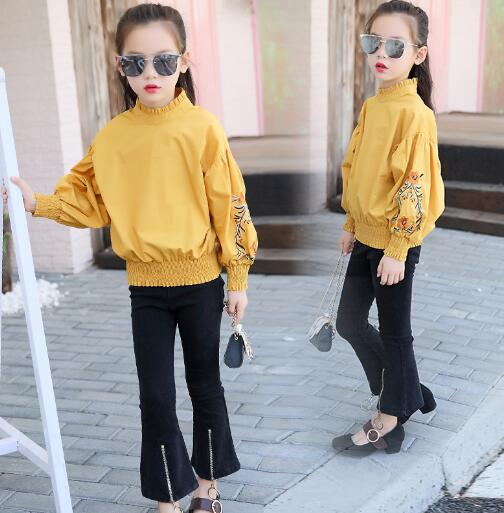 2018 Spring Girls Clothing Sets teenage Kids Clothes Suit Floral Tops + Pants Two-piece Suit 3-12 years Children Outfits - Slabiti