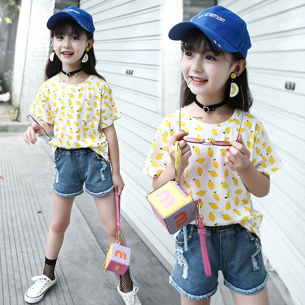 2018 Summer New Pattern Children Hot Child Easy Fruits Printing Pure Cotton Sleeve Circle Lead T-shirts Kids Clothing - Slabiti